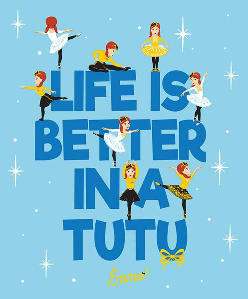 Emma Wiggle 'Life Is Better In A Tutu' Panel - Blue  by Riley Blake