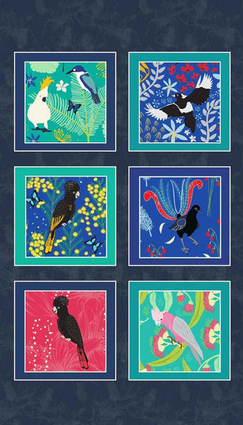 Outback Beauty: Birds Panel Dark designed by Amanda Brandl for KK Designs