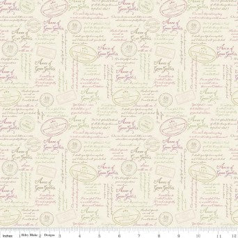 SALE: Anne of Green Gables - Quotes Cream by Riley Blake