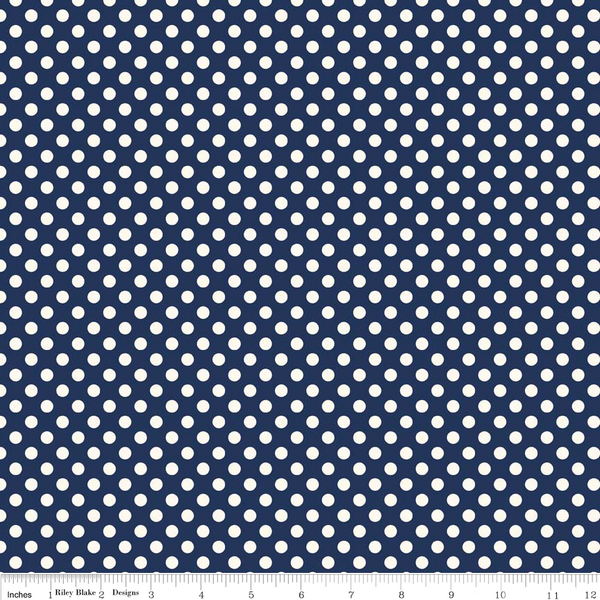 NEW Le Creme Small Dot Navy by Riley Blake