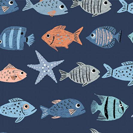 Oceans Away Fish by Rebecca Jones for Clothworks