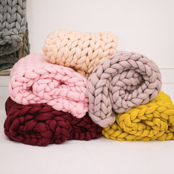 SarahLouCo Chunky Knit Throw Blankets Assorted Colors