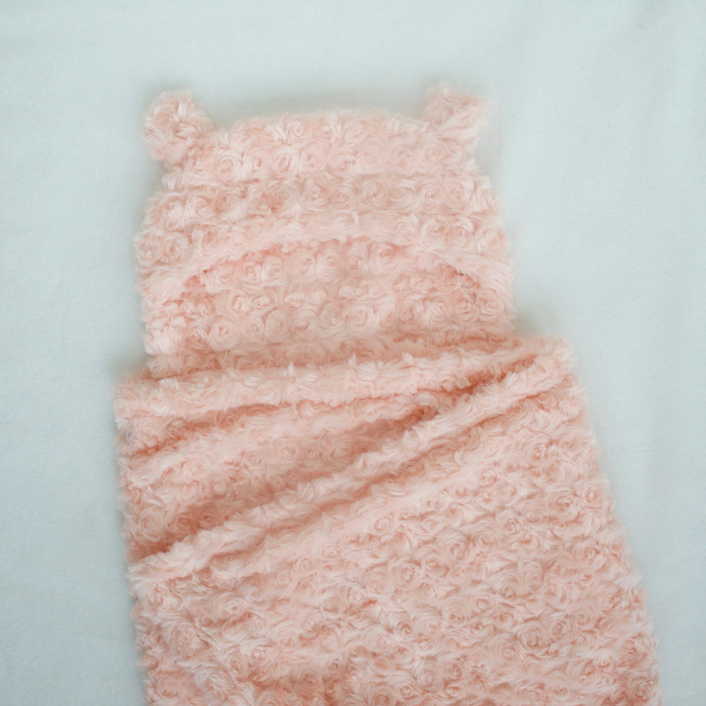 Peachy Pink Hooded Bear Blanket