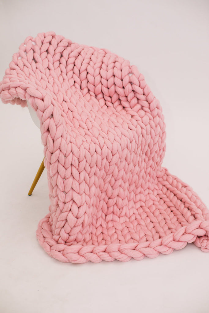 Bubblegum Pink Merino Wool Throw