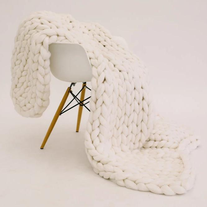 Dream White Merino Wool Throw
