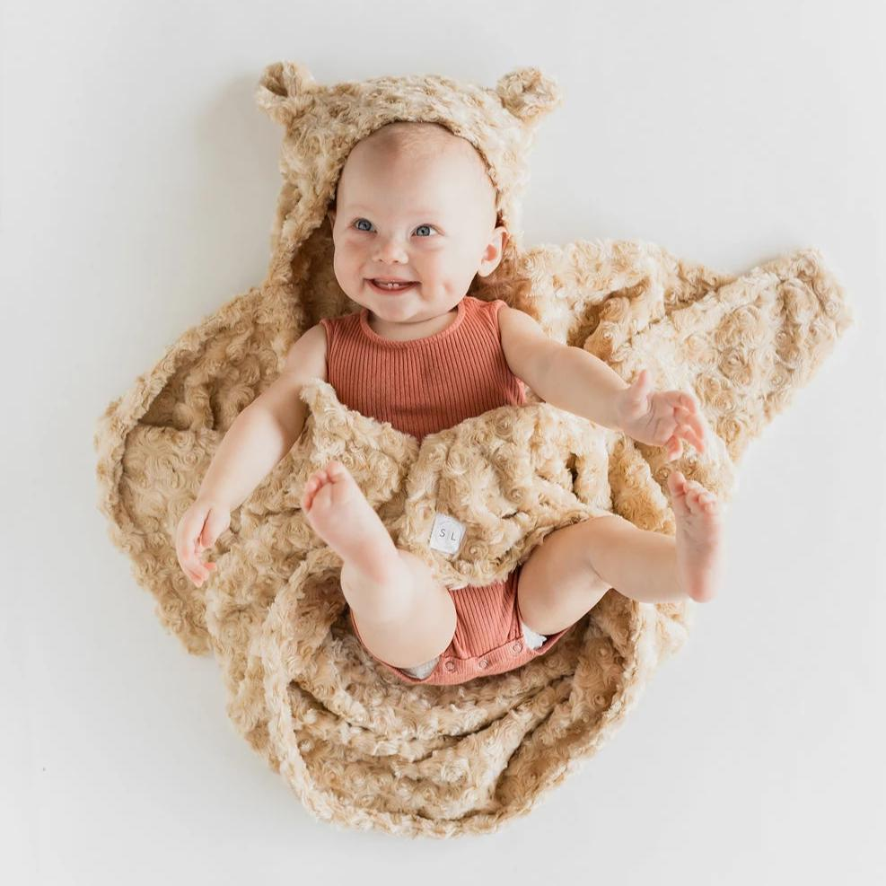 Sand Hooded Bear Blanket