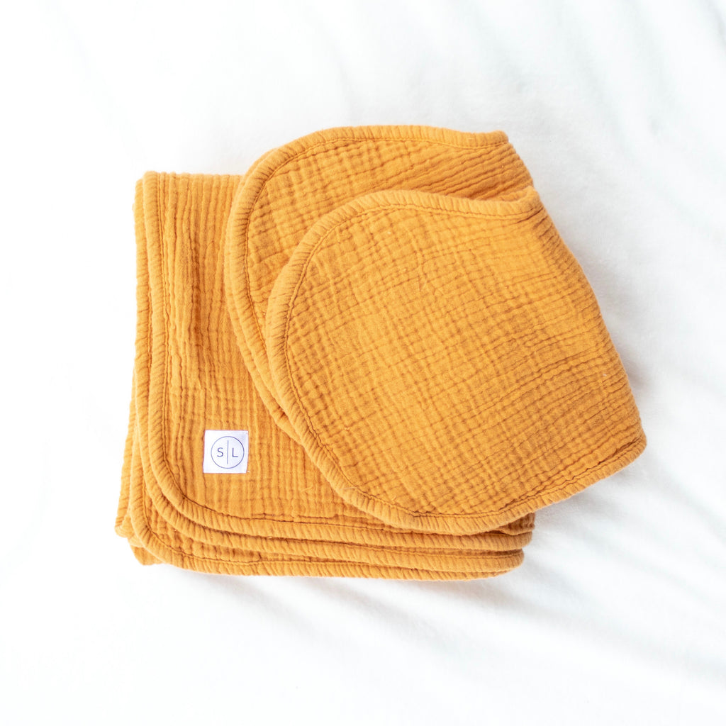 Mustard Swaddle + Burp Cloth Set