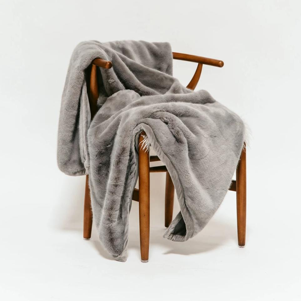 Slate Grey Faux Fur Blanket - Large