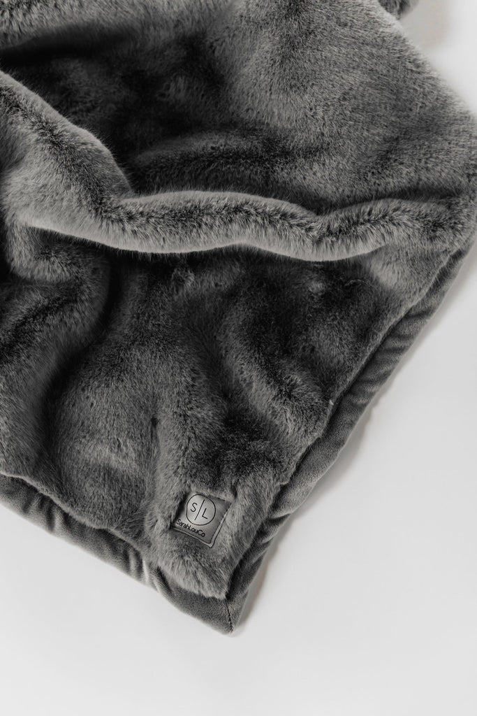 Slate Grey Faux Fur Blanket