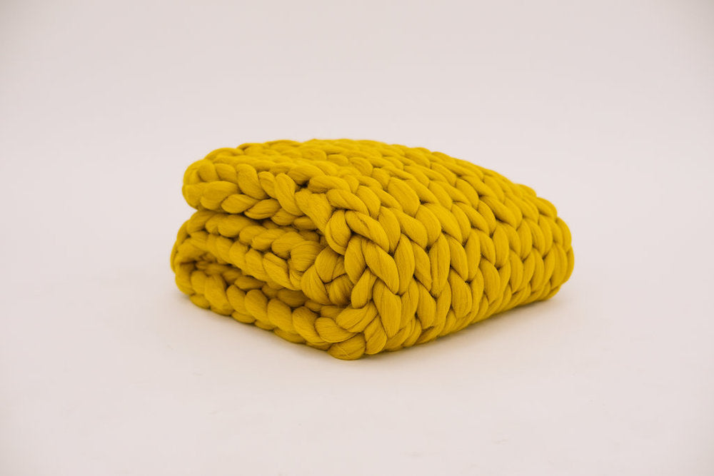 Mustard Merino Wool Throw