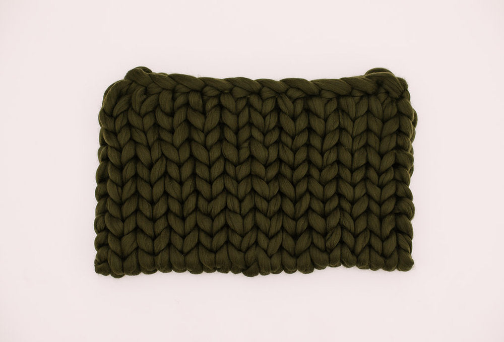 Olive Green Merino Wool Throw