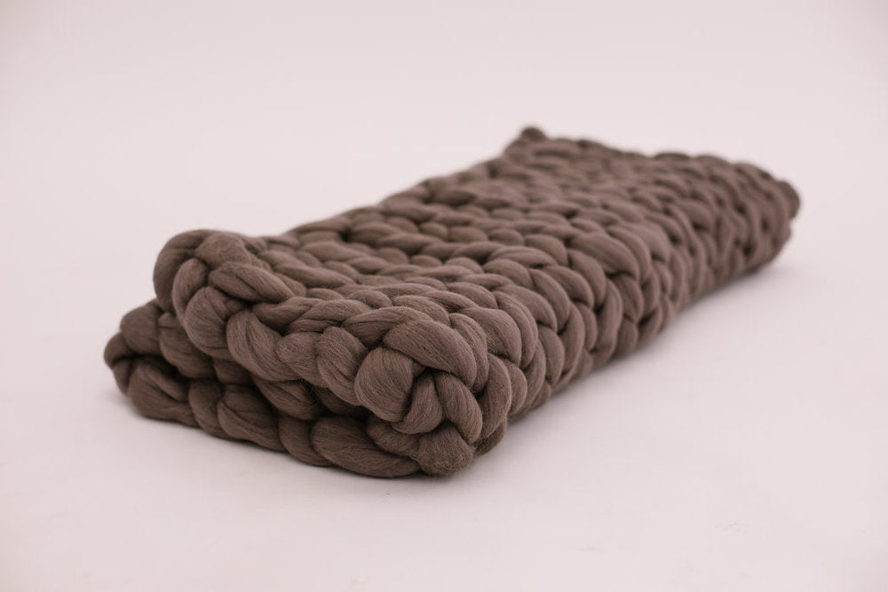 Purple Grey Merino Wool Blanket
