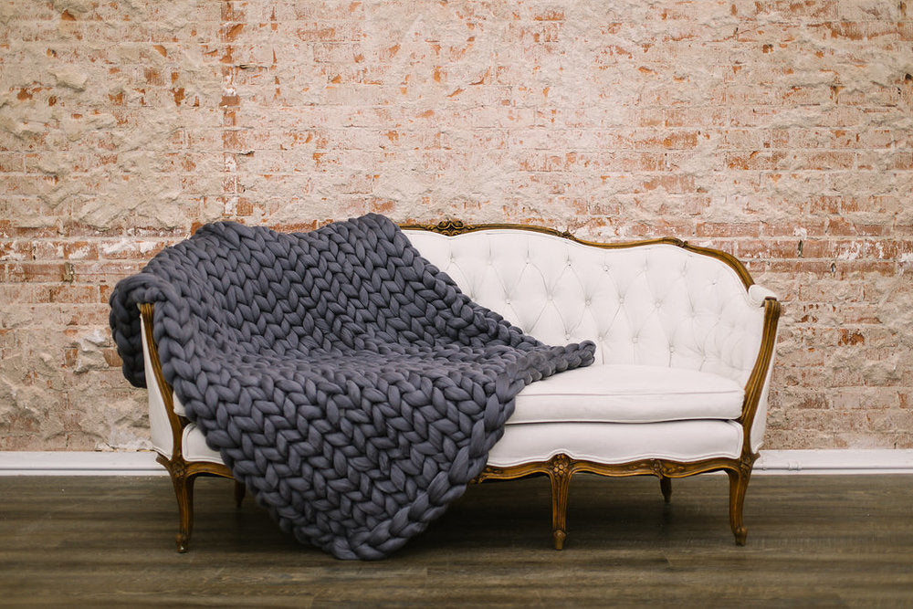 Storm Grey Merino Wool Throw