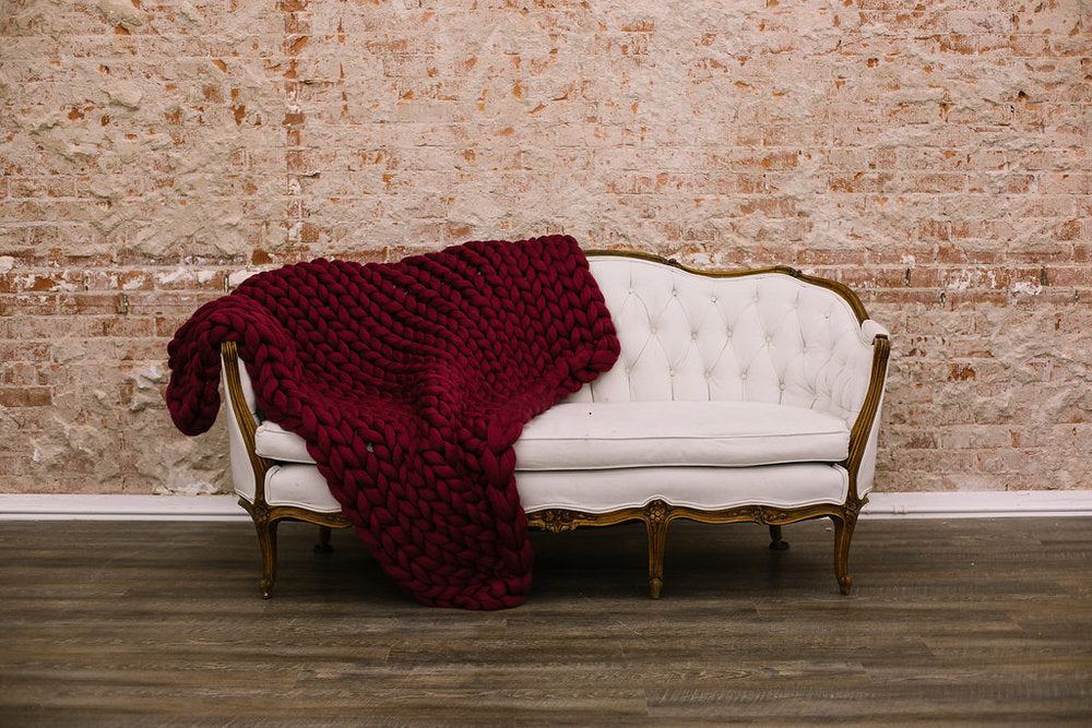 Burgundy Merino Wool Throw
