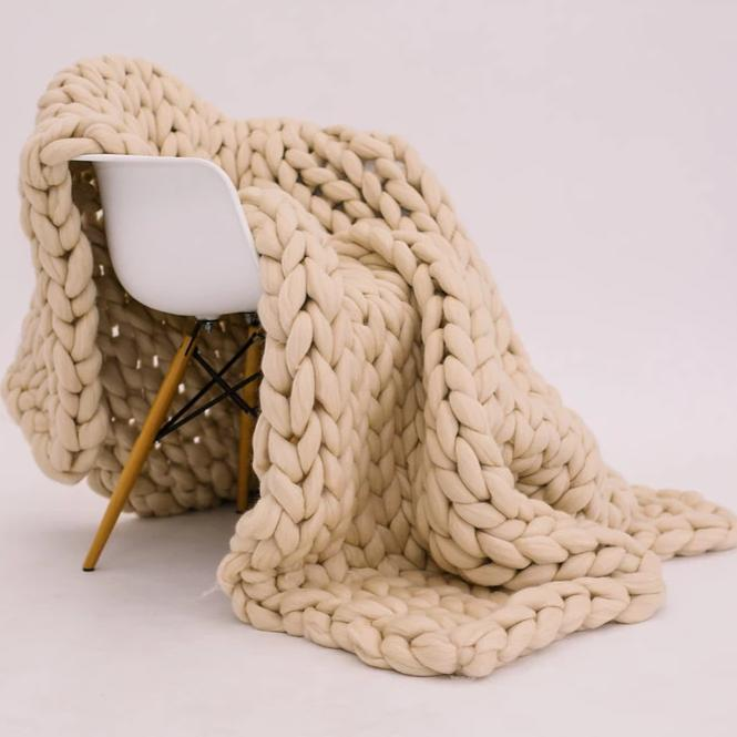 Light Tan Merino Wool Throw