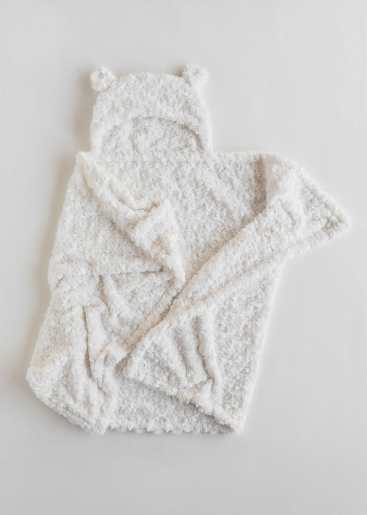 Cream White Hooded Bear Blanket