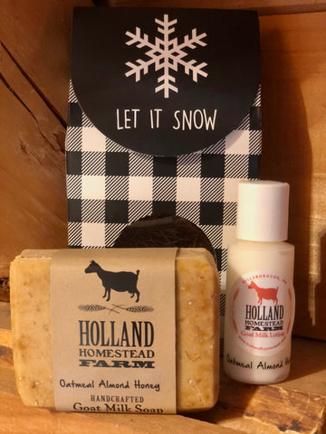 "Holiday Gift Set - White Plaid ""Let It Snow"""