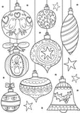 Christmas baubles colouring page