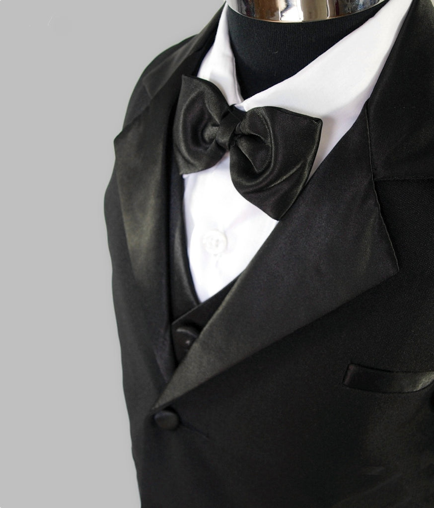 Boys black tuxedo 5 piece suit close up