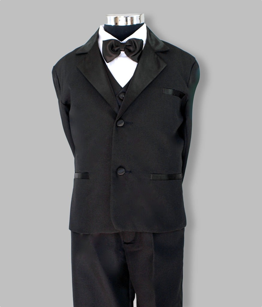 Boys black tuxedo 5 piece suit