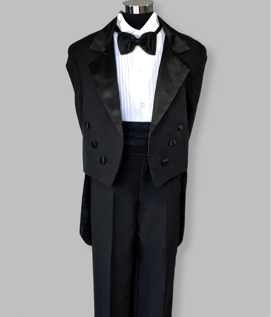 Boys tuxedo suit with tails and cumberland Black