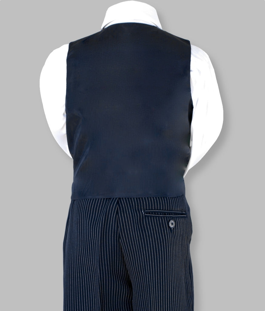 Boys navy pin stripe vest set. Pinstripe