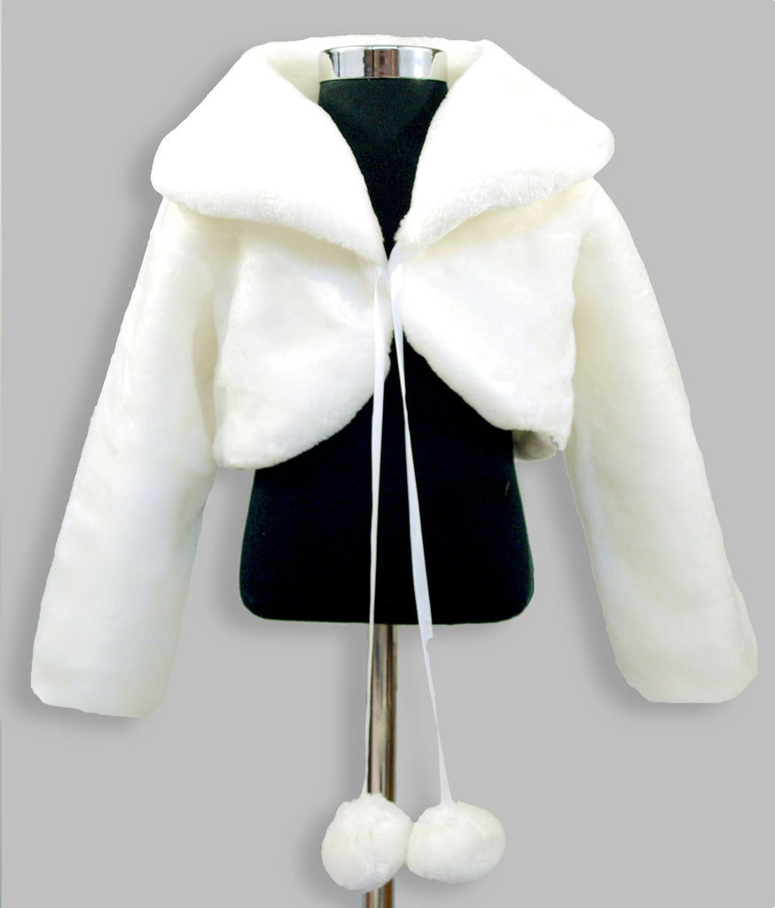 Girls ivory white fur bolero jacket, formal