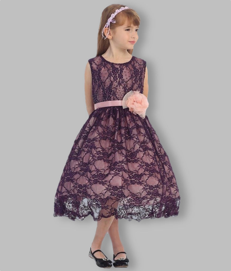 Girls lace party dress on model