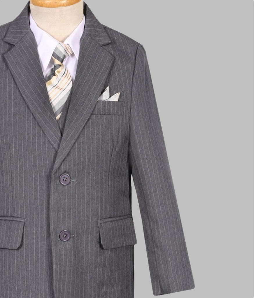 'Sebastian' Pinstripe 5 piece suit (Grey)