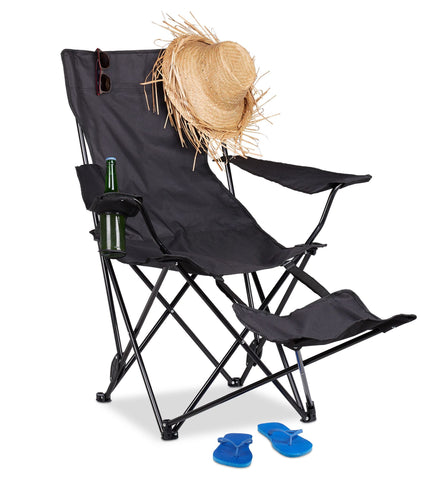 Foldable aluminium camping chair with footrest and bottle holder