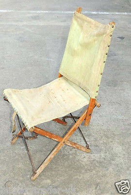 WW2 BRITISH ARMY FOLDING CANVAS FIELD CHAIR