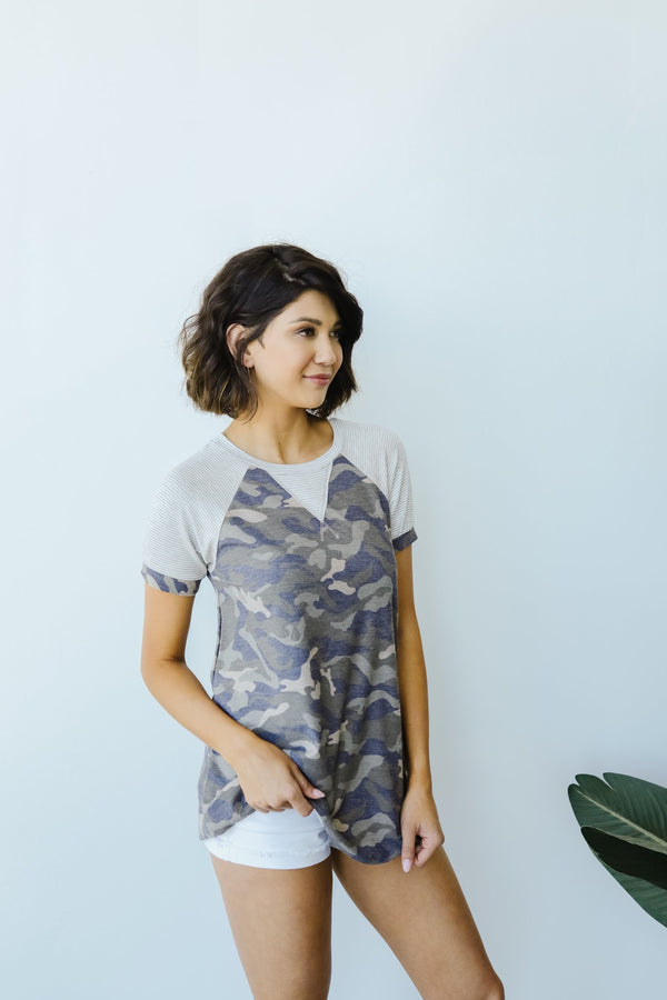 Can't Beat Camo Raglan Top
