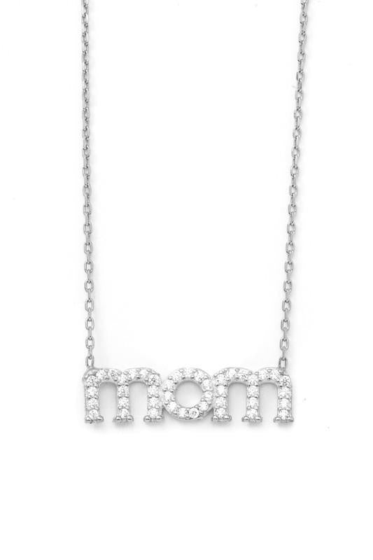 Rhinestone Mom Necklace In Silver