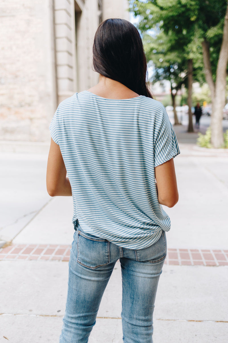 Audrey Aqua Striped Crew Neck Top