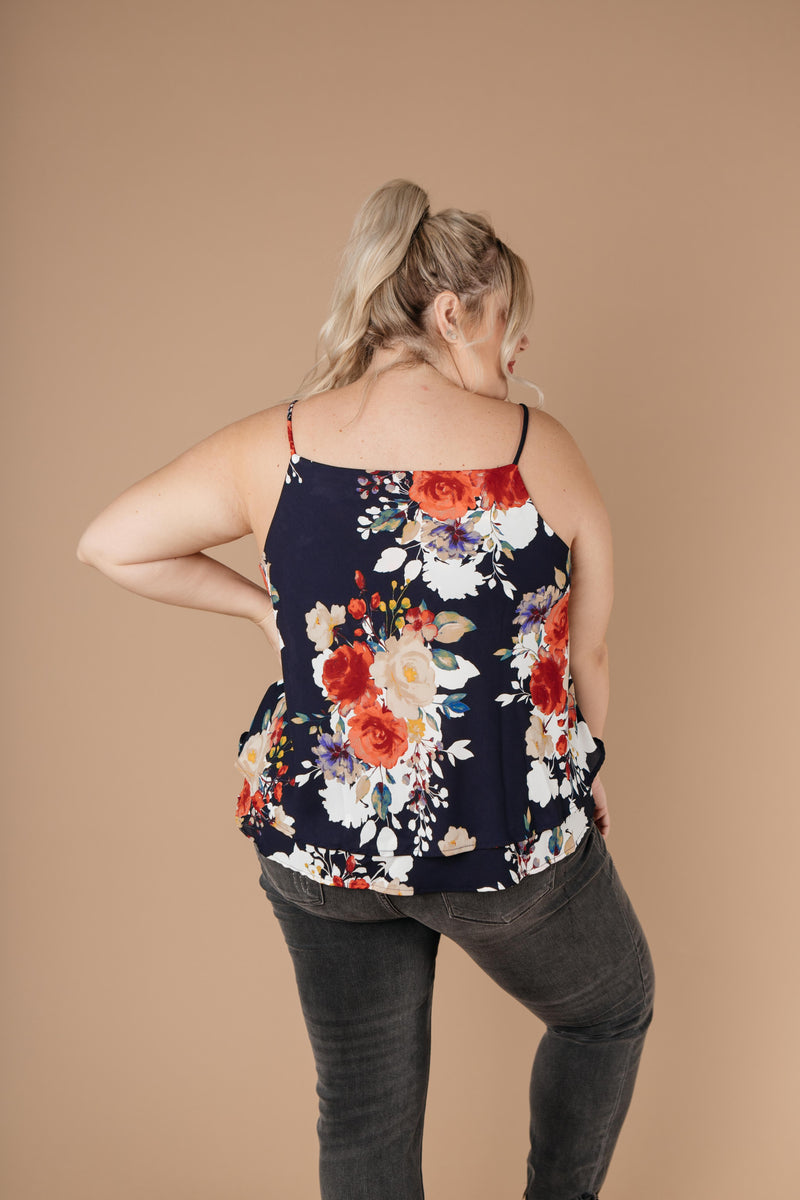 Elegant Floral Camisole In Navy