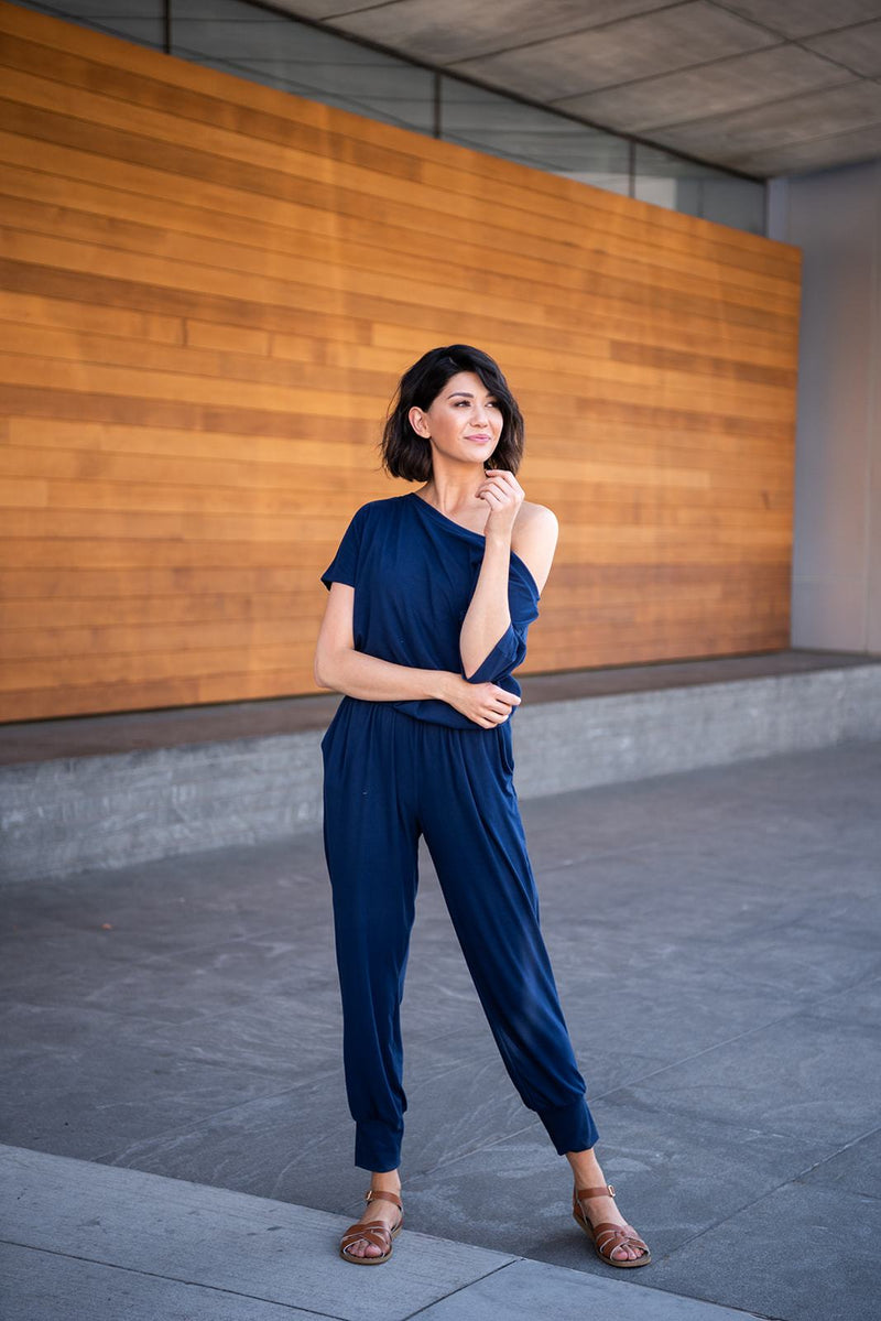 Carefree Girl Jumpsuit- Navy