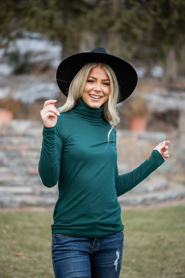Enjoy The Journey Mock Neck Top- Hunter Green