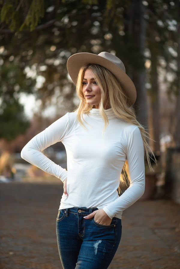 Enjoy The Journey Mock Neck Top- Ivory
