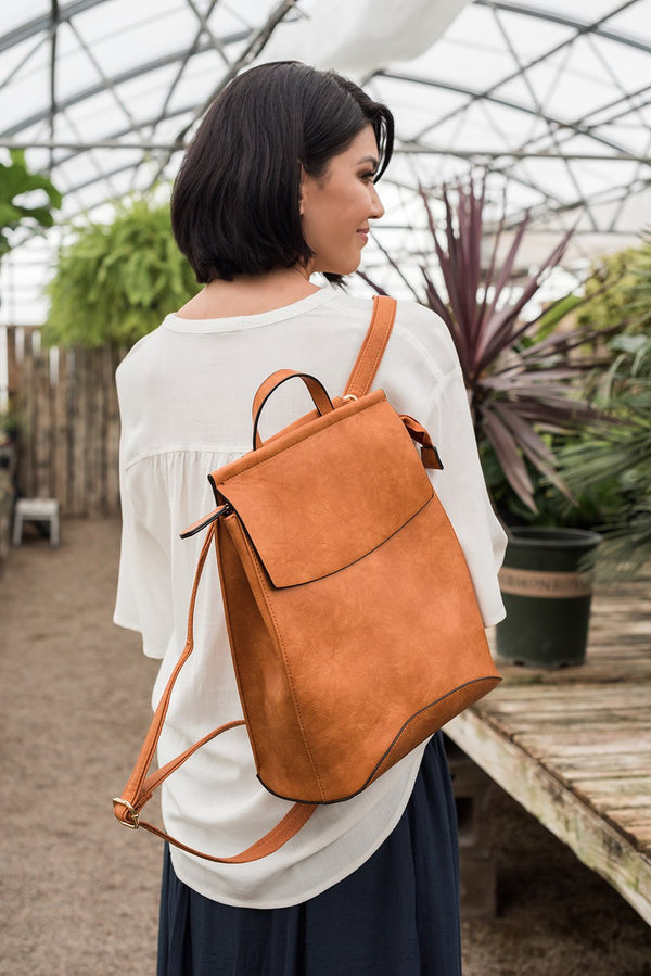 Faux Leather Backpack- Cognac