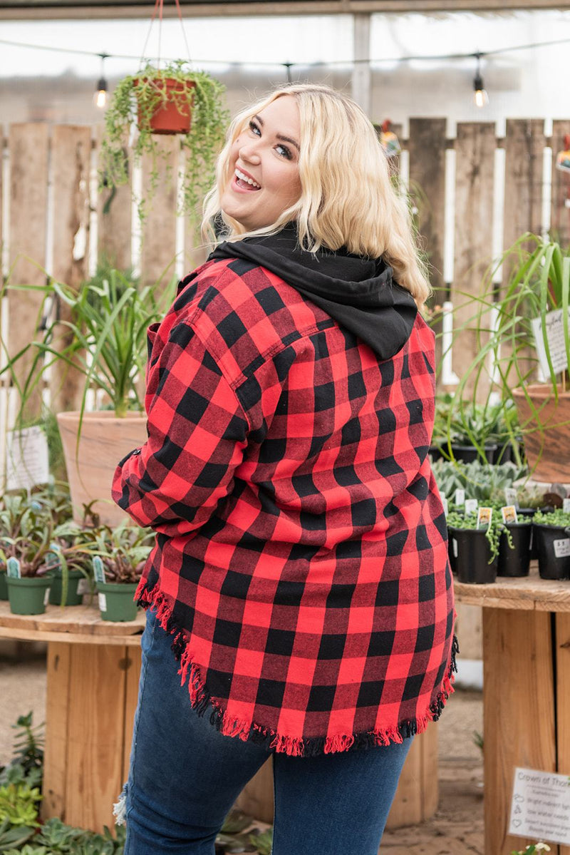 Cover Your Bases Hooded Top- Red and Black