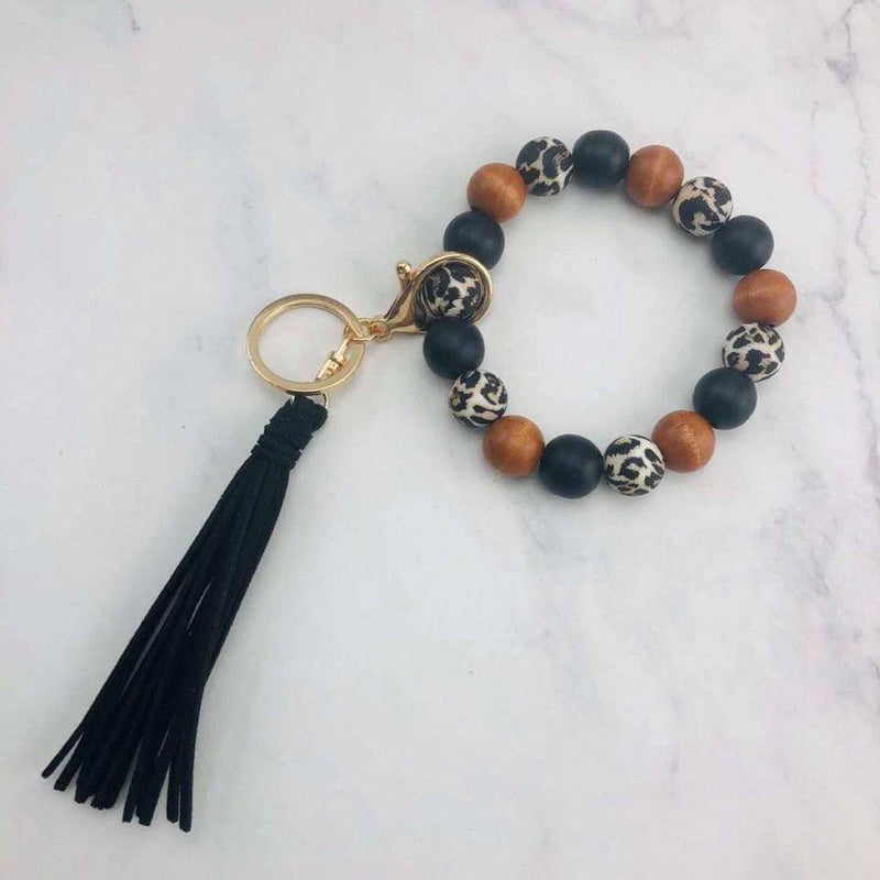Leopard Love Beaded Tassle Keychains