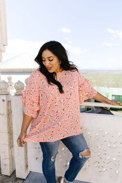 Apricot Ruffles Floral Blouse