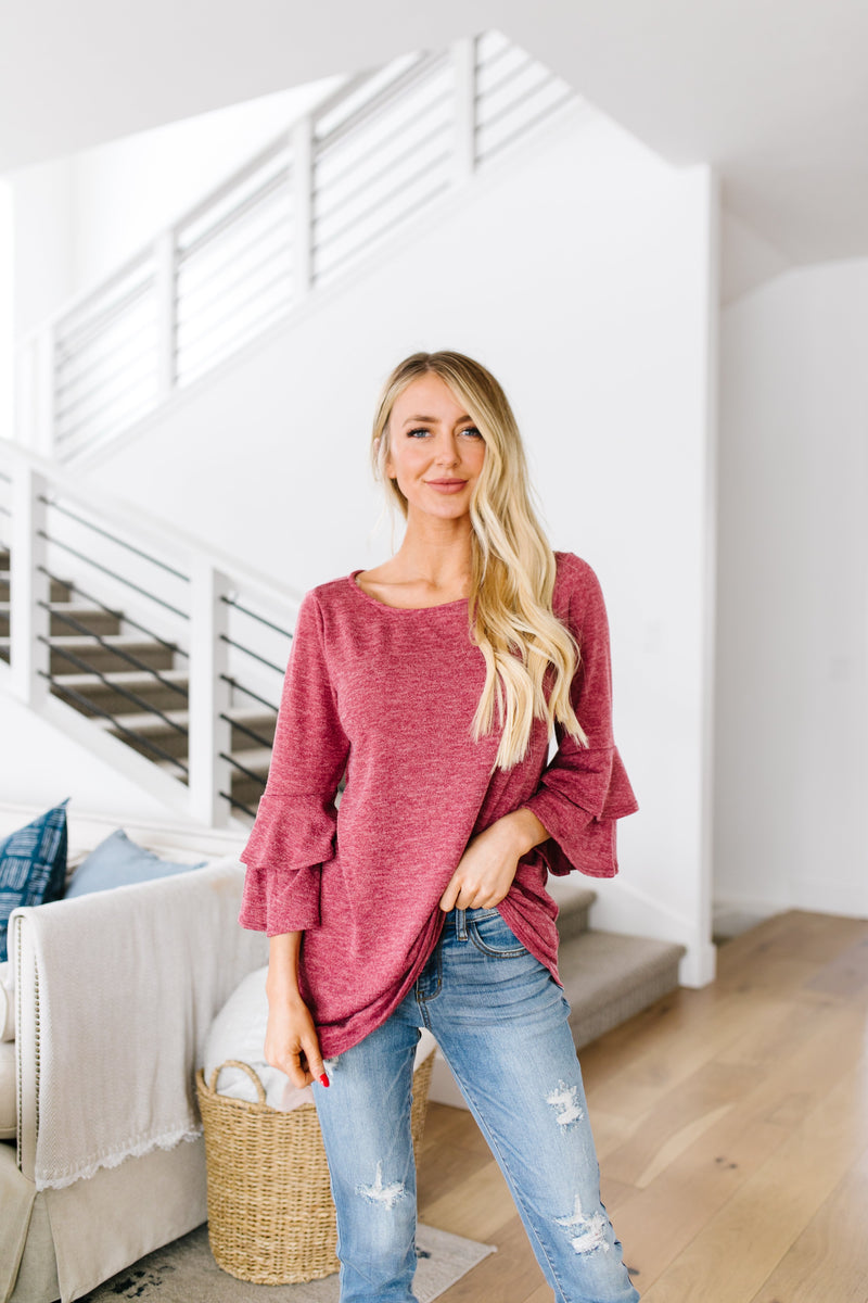 Back Up Ruffle Sleeve Blouse
