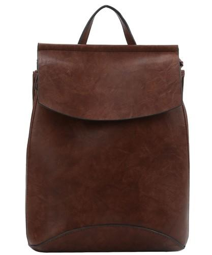 Faux Leather Backpack-Coffee