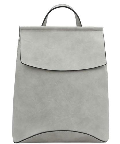 Faux Leather Backpack-light Gray