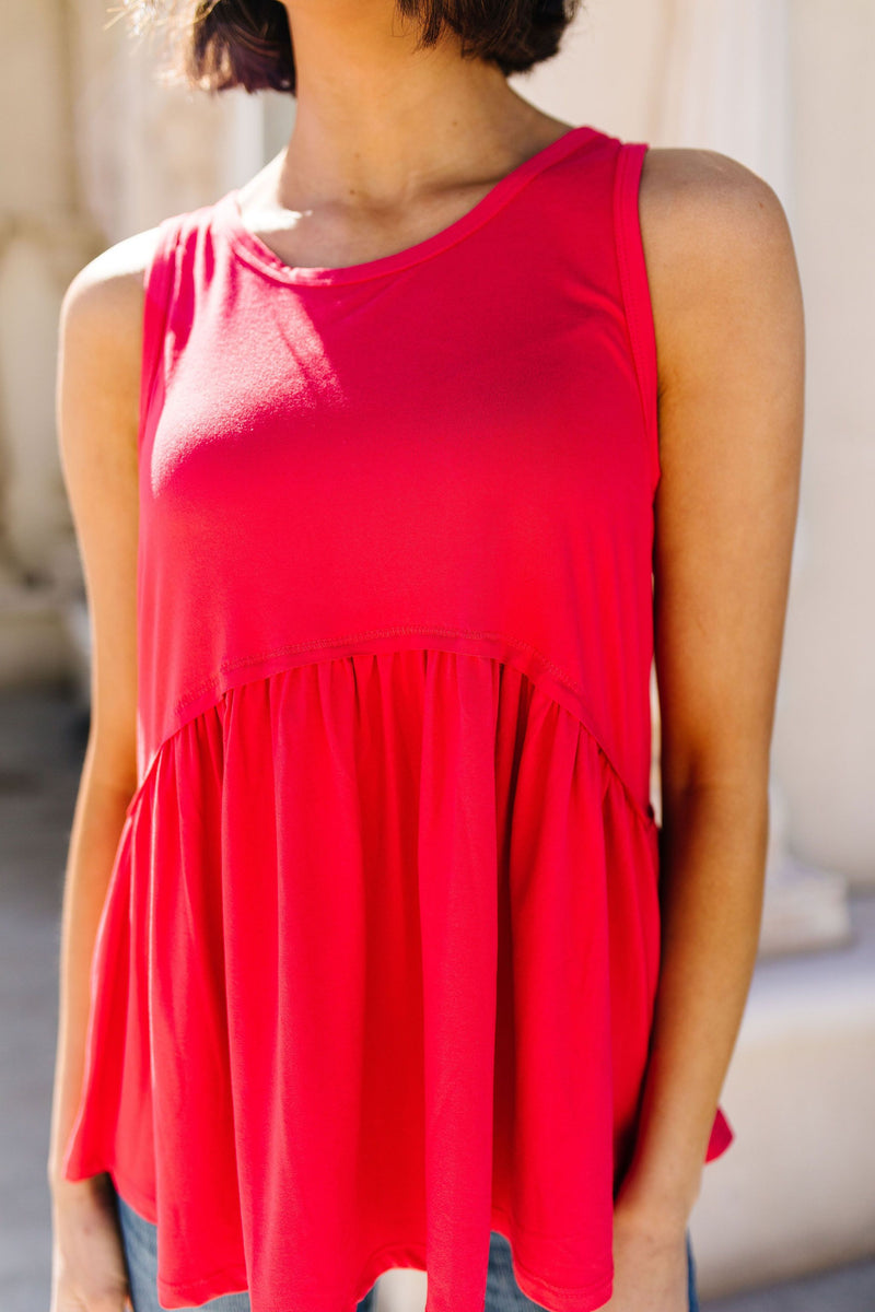 Bamboo Babydoll Round Neck Tank In Coral