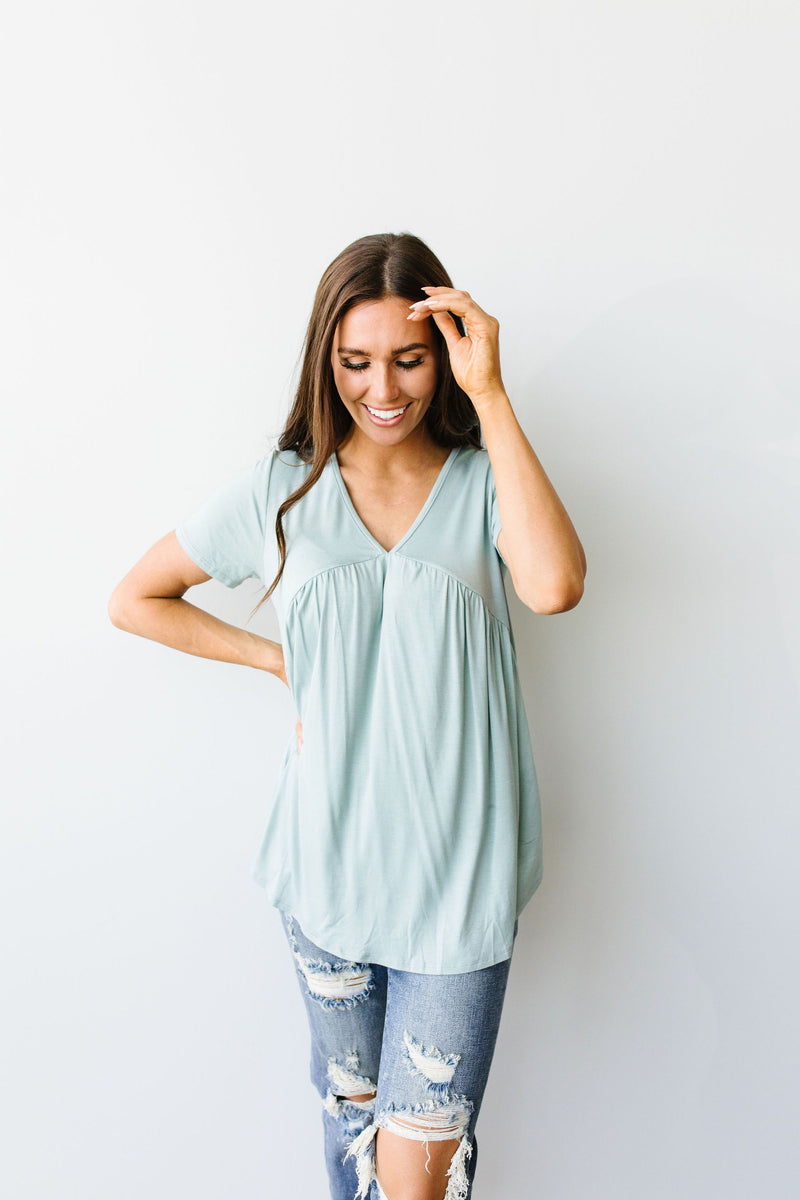 Bamboo Knit Top In Sage
