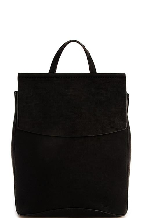 Faux Leather Backpack-Black