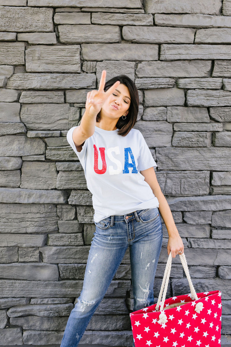 Born In The USA Graphic Tee In Baby Blue
