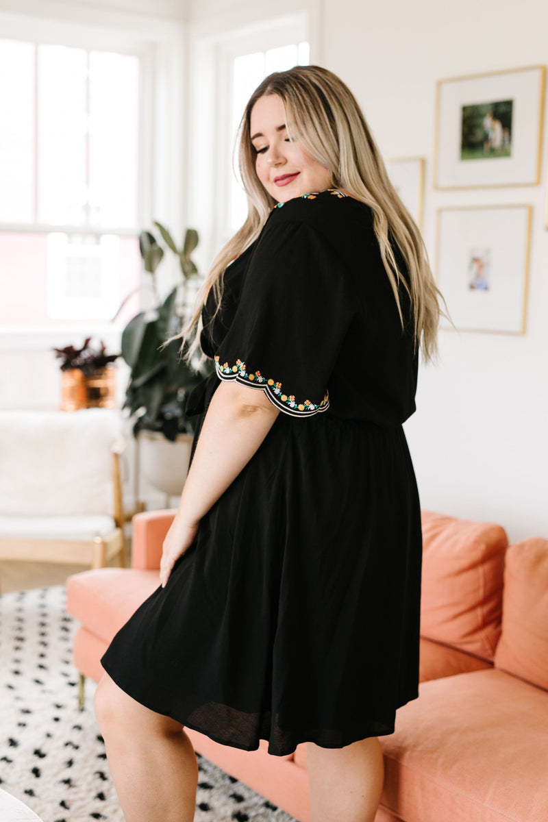 Brooklyn Embroidered Dress In Black